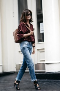 Bloglovin+Blog+Ways+To+Style+Loewes+Puzzle+Bag+Red+Burgundy+Silk+Satin+Button+Down+Shirt+Tan+Leather+Raw+Hem+Fray+Jeans+Cutout+Sandals+Diana+Blogger+Style+Via+Z+Hours