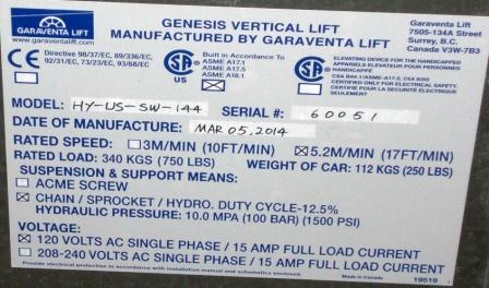 Garaventa Lift I.D. Plate
