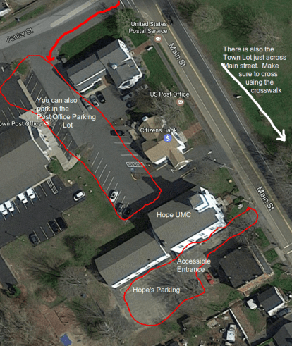 map of parking at Hope