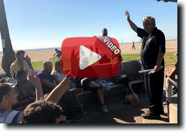 Santa Monica beach outreach altar call video with play button