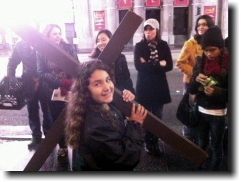 We carried the 8ft crosses down Hollywood Blvd and shared Jesus.