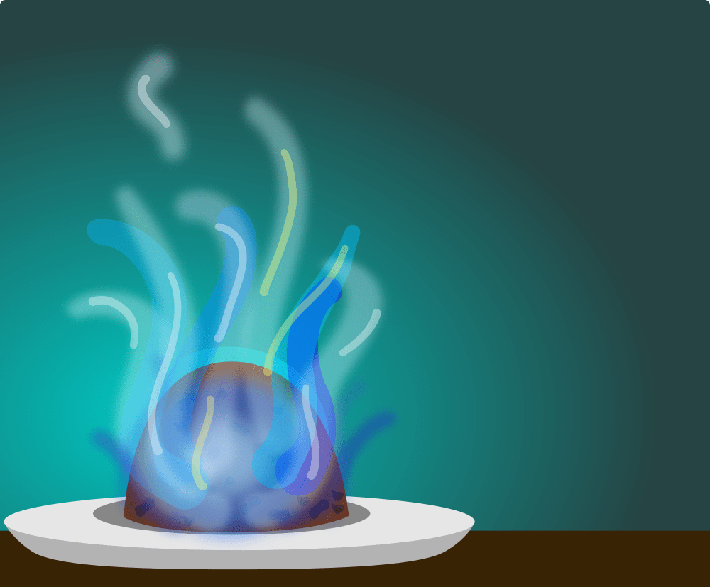 a christmas pudding on fire