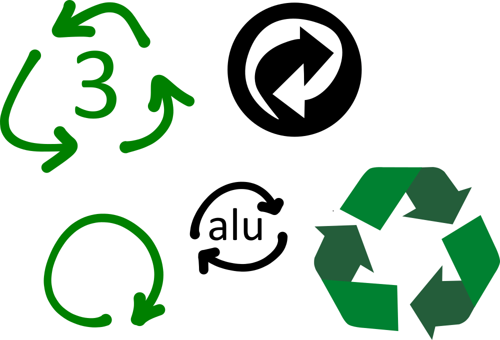 Recycling symbols - one of them relates specifically to PVC - the green chasing arrows in a triangle with a number 3 in the middle.