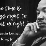 Black and white photo of Dr. Martin Luther King Jr. with a quote to the left of his face.