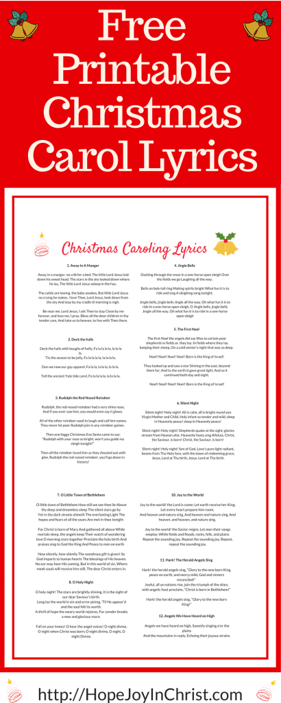 Free Printable Christmas Carol Lyrics (#FreePrintable #ChristmasCarol #HolidayIdeas #ChristCenteredChristmas)