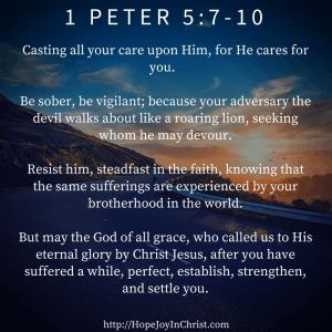 1 Peter 5:7-10 Cast your cares upon the Lord #anxietyhelp #SelfCare #SpiritualBattle
