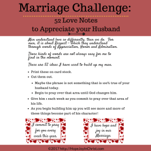 Love Notes to Appreciate your Husband - words of appreciation cards printable pack Our words have the power to bring life or death in a Christian Marriage. It can be hard to find the right words to encourage our Husband. It's easy to point our the negative, but sometimes we need a little help finding the words to build him up.