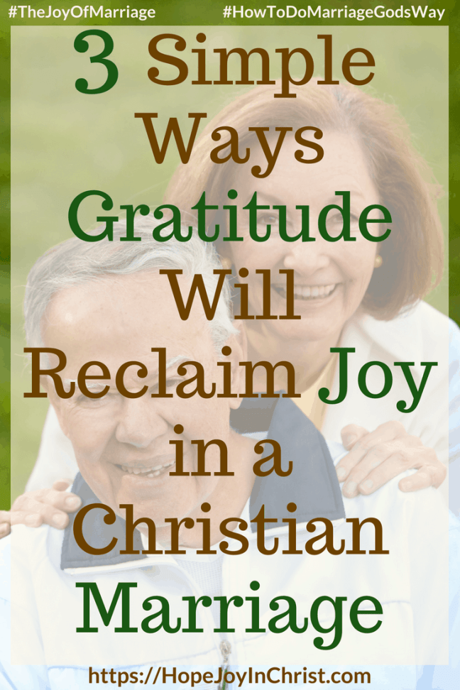 3 Simple Ways Gratitude Will Reclaim Joy in a Christian Marriage #Gratitude #Gratitudequotes #Gratitudescripture #attitudeofGratitude 31 Ways to Reclaim Joy in a Christian Marriage #JoyInMarriage #MarriageGodsWay #JoyQuotes #JoyScriptures #ChooseJoy #ChristianMarriage #ChristianMarriagequotes #ChristianMarriageadvice #RelationshipQuotes #marriagegoals #HappyWifeLife #MarriedLife #BiblicalMarriage