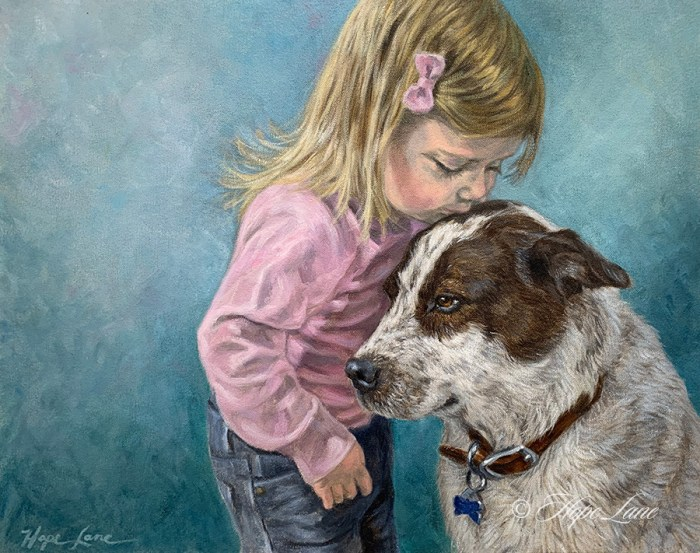 """Love is the Bridge Between Two Hearts"", 20"" x 16"" oil on canvas, © Hope Lane www.hopelaneart.com"