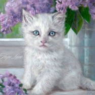 Finished Painting of a White Kitten