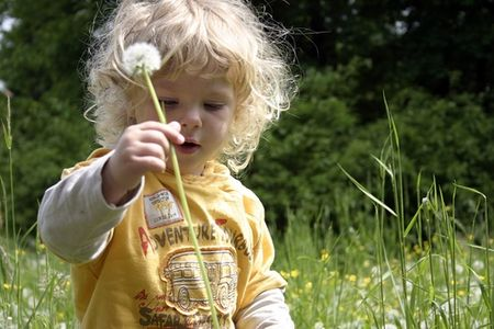 Child with Flower Outdoors