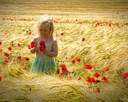 girl in red flowers