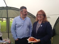 Our MP, Deirdre Brock gets a pizza the action.