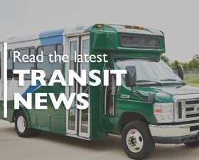 "Green DCTA bus with text overlay ""Read the Latest Transit News"""