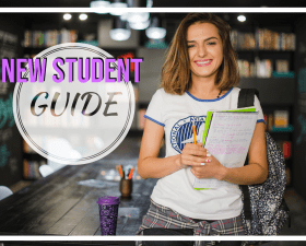 "Student holding books with text ""new student guide"" to the left of her"