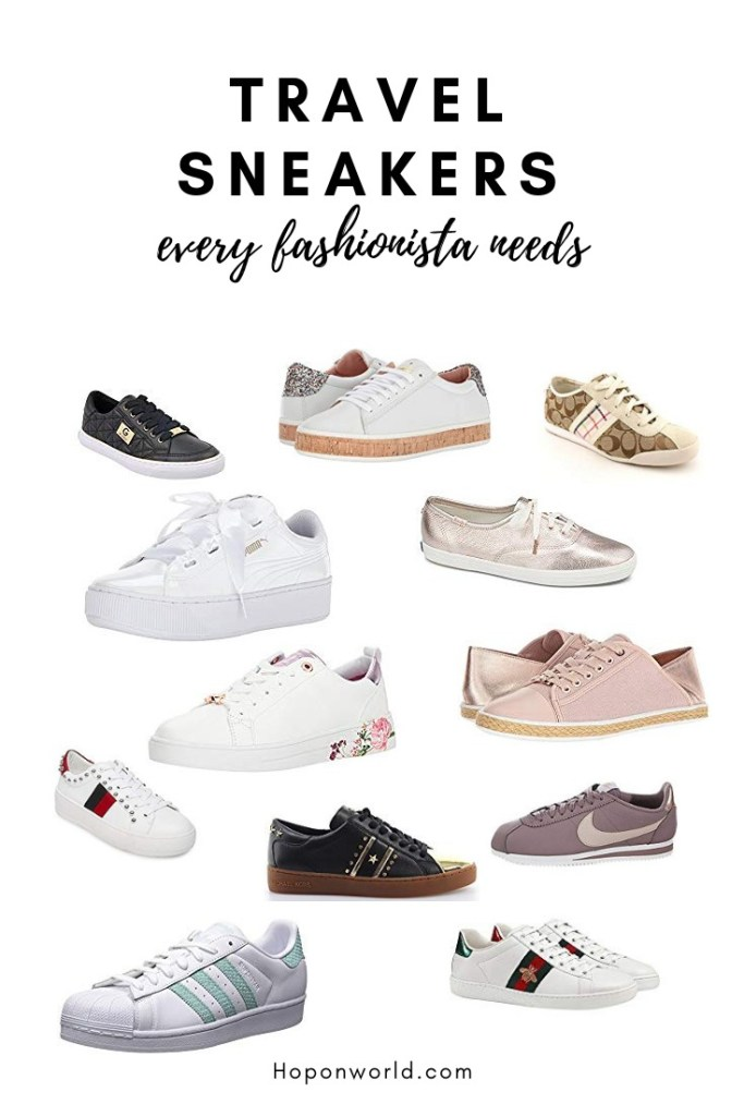 Are you looking for comfy and stylish travel sneakers without worrying how it pairs with your insta-ready outfit? We set out the most gorgeous travel sneakers here - for every kind of traveller. Whether you're a glitzy gal, a posh babe or even if you like to keep things simple - we've got you covered. Find the perfect pair or travel sneakers to fit your style and budget in this guide. #travel #walkingshoes #shoesfortravel #comfyshoes #sneakers #travelsneakers