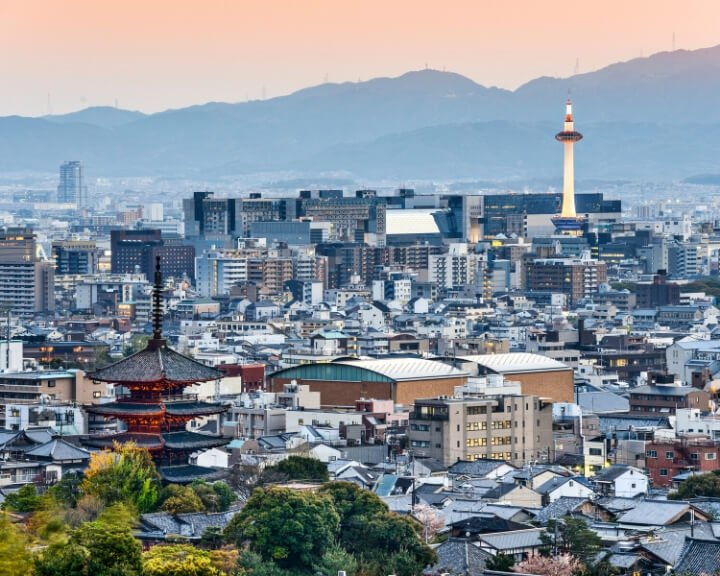 Kyoto's beautiful skyline. The Kyoto Tower is a must-see spot to see while spending 2 days or more in Kyoto.