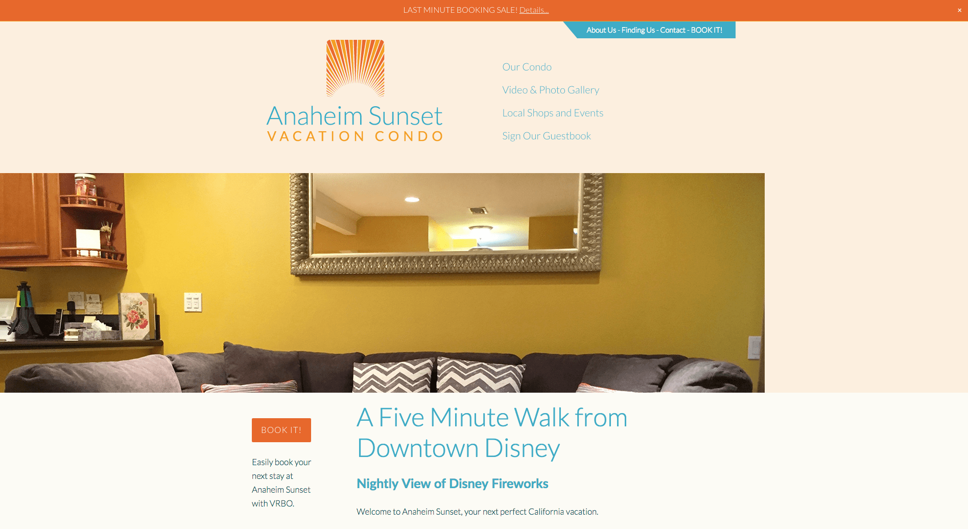 Anaheim Sunset Vacation Condo website, designed by Hoppel Design