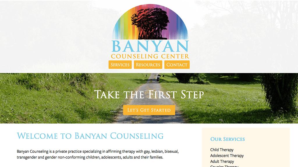 Banyan Counseling Center website, designed by Hoppel Design