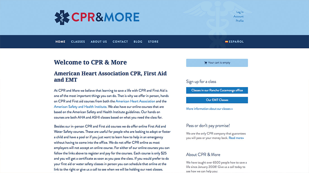 CPR and More website, designed by Hoppel Design