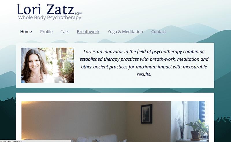 Lori Zatz website, designed by Hoppel Design