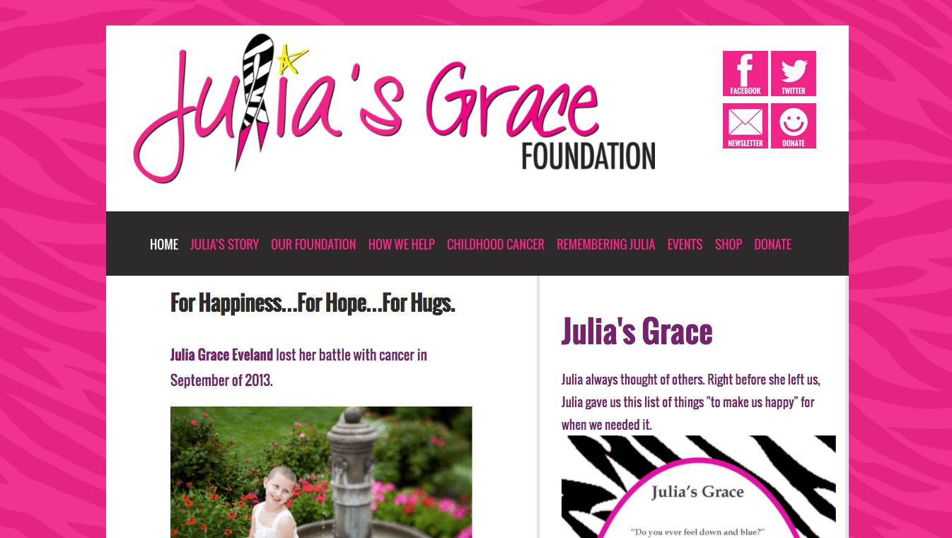 Hoppel Design website for the Julia's Grace Foundation