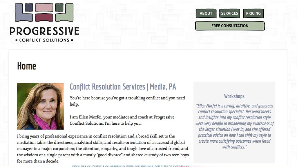 Progressive Conflict Solutions website, designed by Hoppel Design