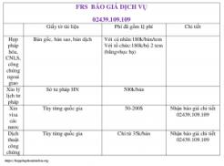 FRS báo giá dịch vụ 300x222 - Phí dịch vụ hợp pháp hóa lãnh sự