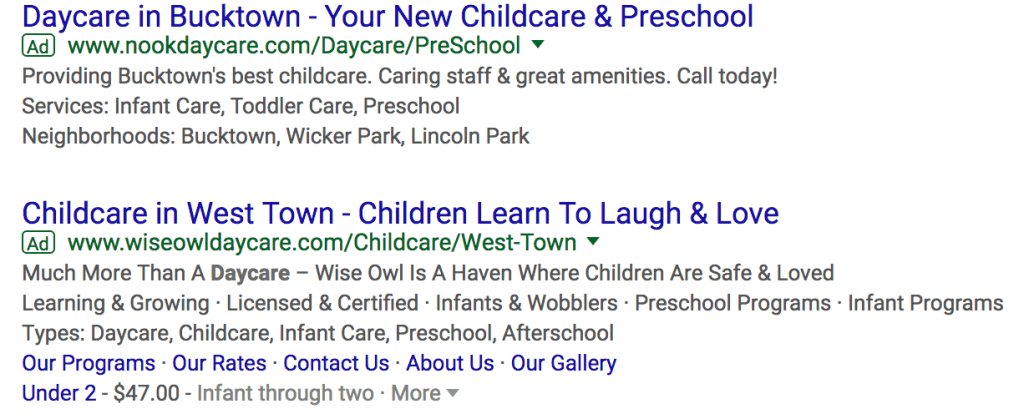 daycare adwords