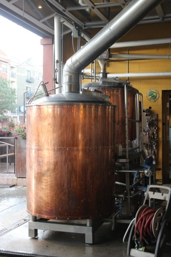 These are the copper mash and lauter tuns, which were still dripping with condensation from a brew that happened recently.