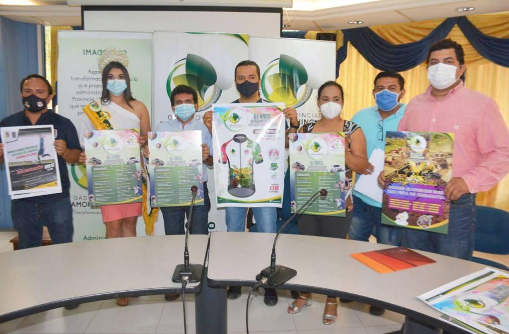 El prefecto y representantes de organizaciones deportivas y sociales realizaron el lanzamiento de la programación festiva.