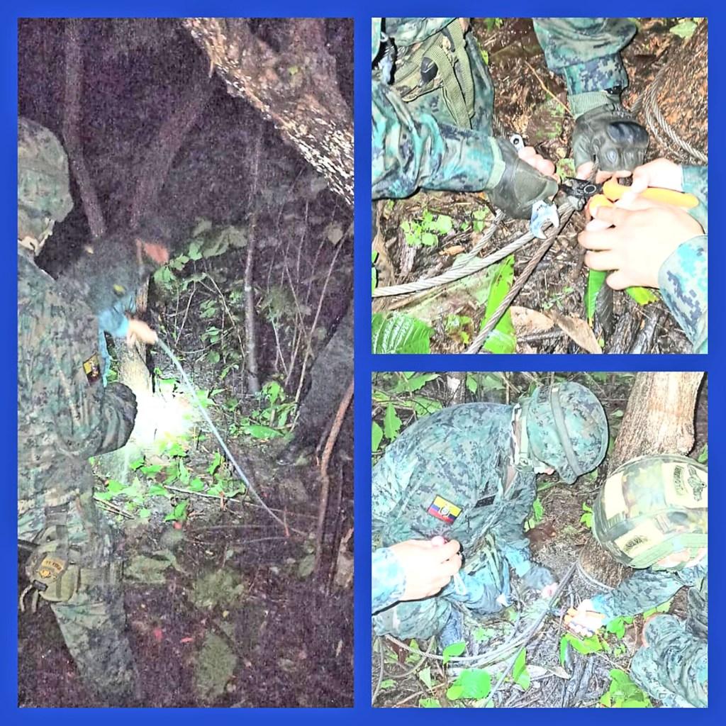 Los soldados durante un patrullaje descubrieron el cable de acero.