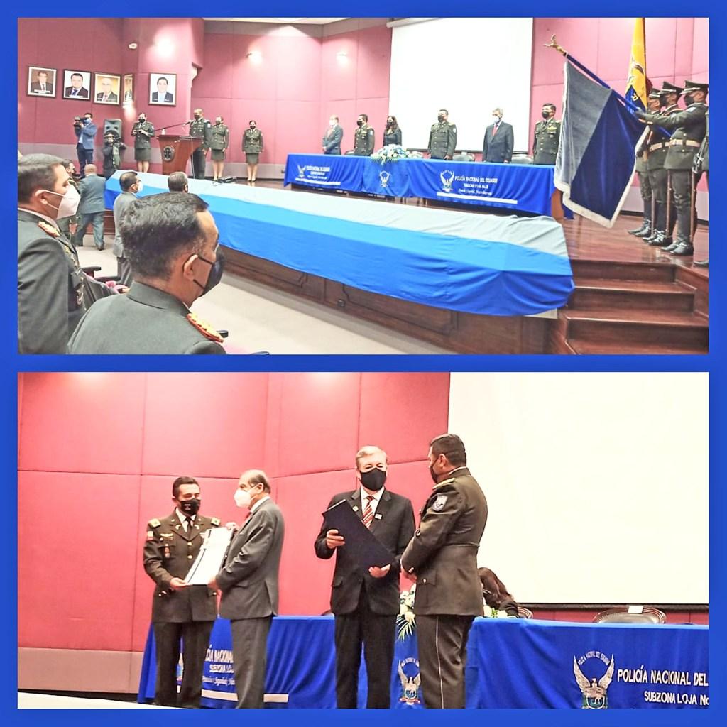 Bolívar Figueroa Castillo, en representación de la Fiscalía de Loja, recibió el documento en donde la Policía reconoce la labor institucional.