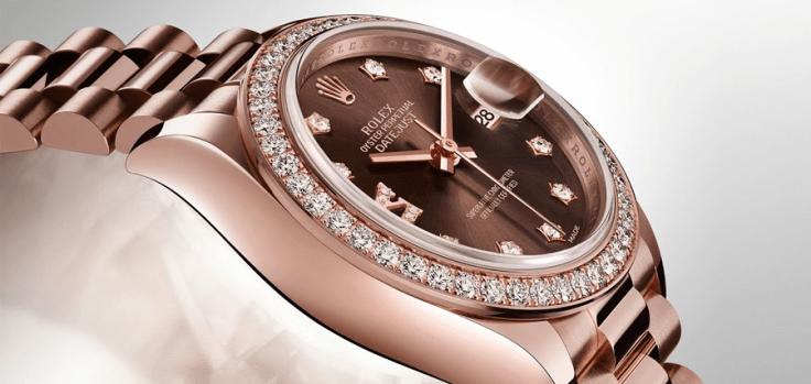 Rolex Datejust i roségull med diamantbezel