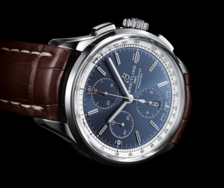 01_Premier_Chronograph_42_with_blue_dial_and_brown_alligator_leather_strap
