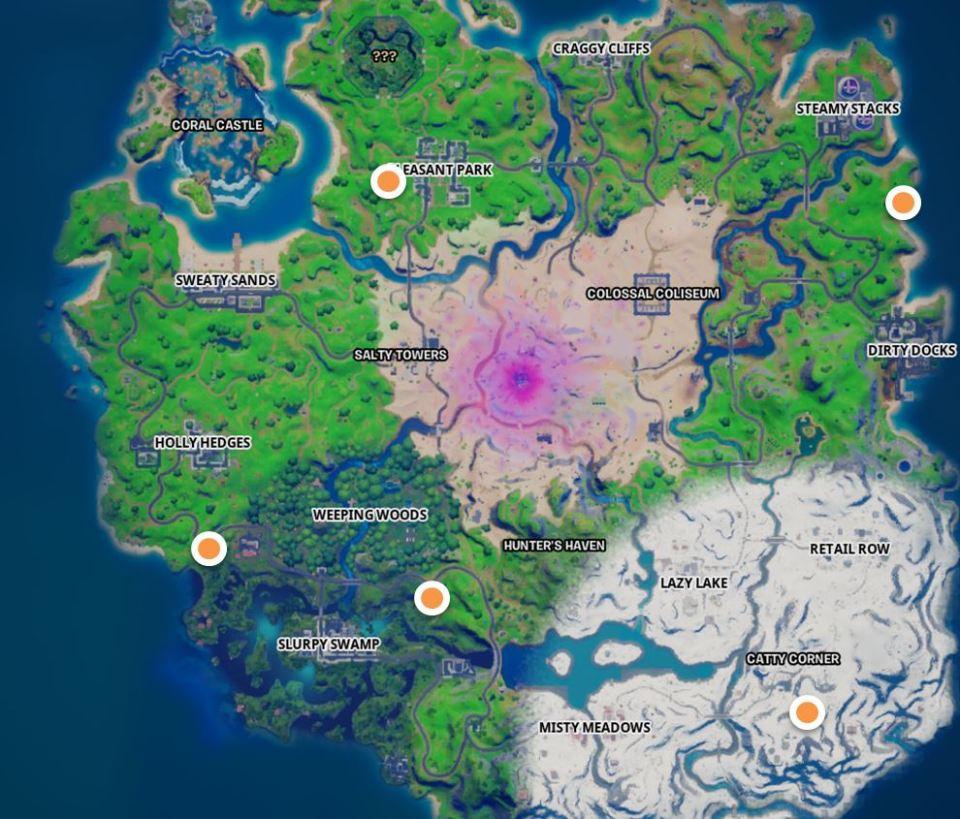 Todas las ubicaciones de los puestos avanzados de Snowmando Mapa de Fortnite