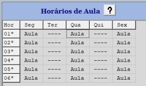 Tabela de horários de aula remota para ensino híbrido