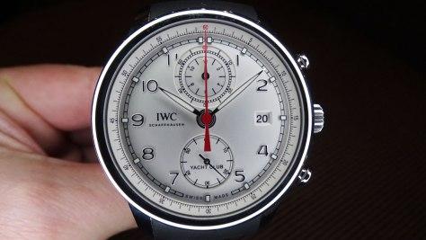 IWC Portugieser Yatch Club Chronograph caja de acero y esfera plateada - frontal