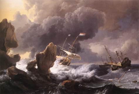 Barco en Apuros Junto a Una Costa Rocosa, de Ludolf Backhuysen