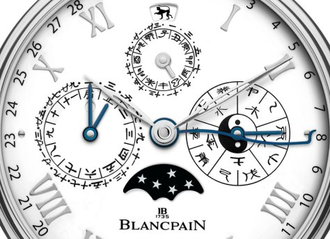 Blancpain-Villeret-Calendrier-Chinois-Traditionnel-detalle-esfera-Horas-y-Minutos