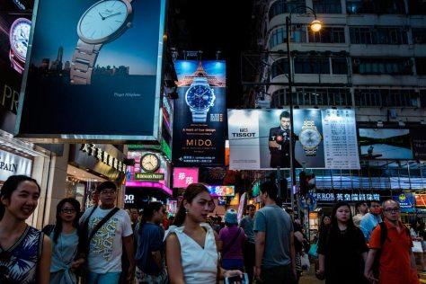 Calle comercial en Hong Kong. Lam Yik Fei, New York Times