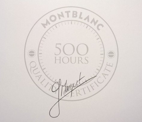 Montblanc - Certificado Test 500 horas