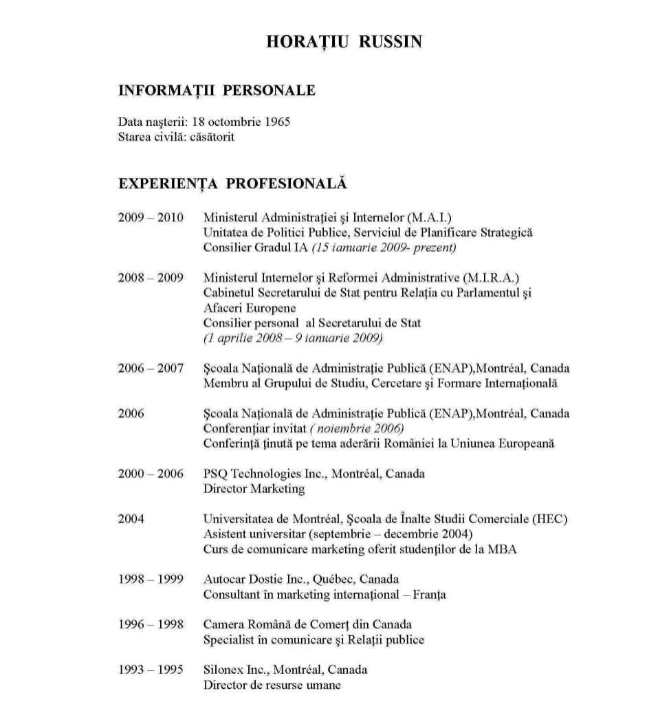 curriculum vitae romana exemplu