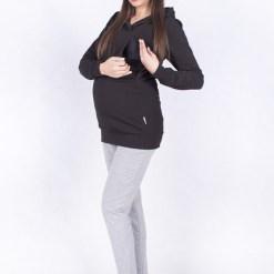 Fekete kismama és szoptatós kapucnis pulóver