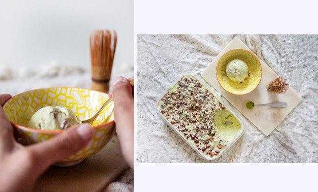 Matcha ice cream and chestnut