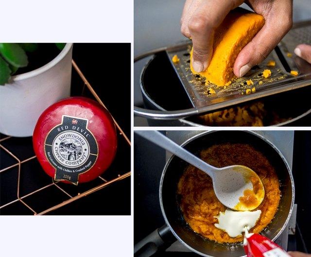 Préparation sauce cheddar