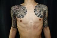 龍と鳳凰 五分みきり からす彫り Half sleeves