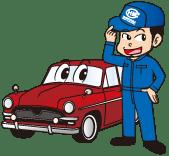 堀山自動車工業所の車と堀山さんのイラスト画像