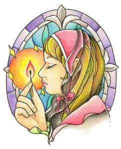 マッチ売りの少女のタトゥーデザイン画像