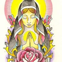 マリアとバラのタトゥーのデザイン、イラスト